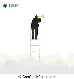 Businessman binoculars on the ladder with cloud in the sky on white background illustration vector. Business concept.