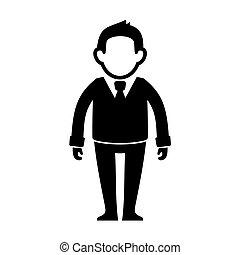 Businessman Black Silhouette Web Icon. Vector