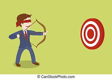 Businessman blindfolded archer cartoon vector - Businessman...