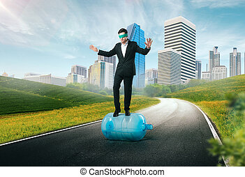 Businessman blindfolded, risk in business concept