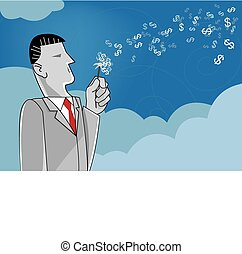 Businessman Blowing Dandelion
