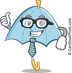 Businessman blue umbrella character cartoon