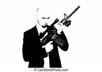 bodyguard - Businessman bodyguard isolated on a white...