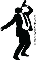 A silhouette of a businessman drinking straight from a bottle.