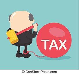 Businessman boss destroy against taxes