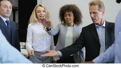 Businessman Boss Giving Hand For High Five To His Partner, Two Business Team Meeting In Modern Office