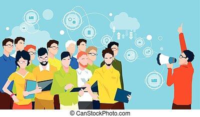 Businessman Boss Hold Megaphone Loudspeaker Colleagues Business People Team Leader Group Businesspeople