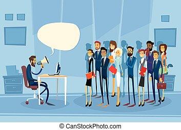 Businessman Boss Hold Megaphone Loudspeaker Colleagues...