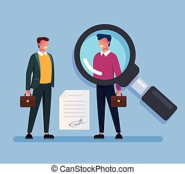 Businessman boss searching work candidate man character. Head hunting hr human resources concept. Vector flat cartoon graphic design isolated illustration
