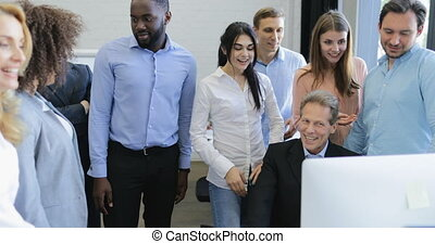Businessman Boss Sitting On Computer Show Business People Team New Successful Strategy, Cheerful Businesspeople Group Discussion