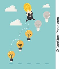 Businessman boss up the Ladder light bulb With money Investment