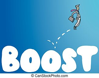 Businessman bouncing on boost word business concept