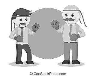 Businessman boxing battle illustration design
