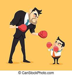 Businessman boxing against a giant businessman. Vector flat...