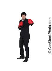 Businessman boxing