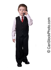 Businessman boy on phone