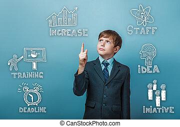 businessman boy points to sketch