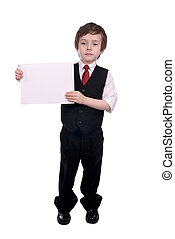 Businessman boy with blank sign