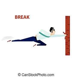 Businessman breaking brick wall