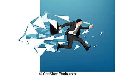 Businessman breaking through wall