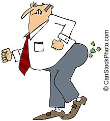 Businessman breaking wind - This illustration depicts a...