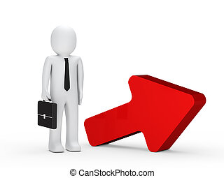 businessman briefcase red arrow