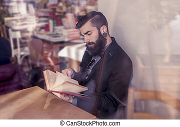 businessman browse a book in a break from work