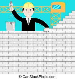 Businessman building a brick wall
