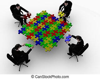 Businessman building color puzzle