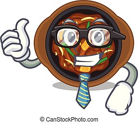 Businessman bulgogi in a the bowl cartoon