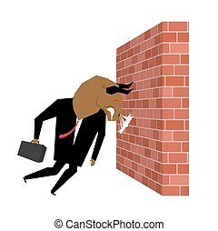 Businessman Bull is destroying brick wall. Overcoming obstacles. Vector illustration