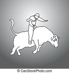 businessman bull rider vector illustration doodle sketch hand drawn with black lines isolated on gray background. Balance business concept.
