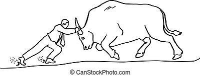 businessman bullfight vector illustration sketch hand drawn with black lines isolated on white background