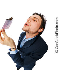 Businessman burning money