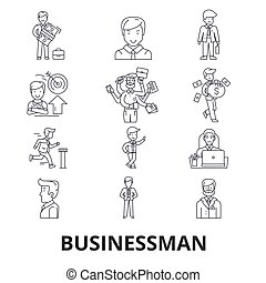 Businessman, business, business meeting, finance, concept, corporate, success line icons. Editable strokes. Flat design vector illustration symbol concept. Linear signs isolated