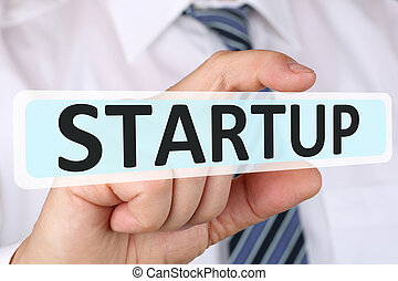 Businessman business concept with startup start up new company