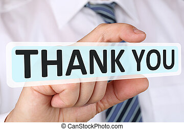 Businessman business concept with thank you