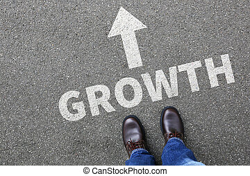 Businessman business man concept with growth growing success successful