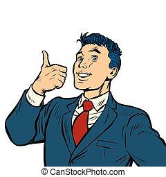 businessman smile thumb up like gesture isolate on white background