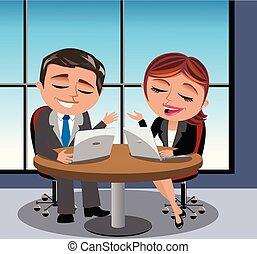 Businessman businesswoman having business meeting -...