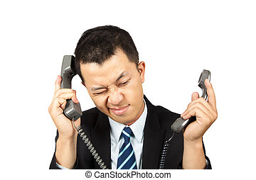 businessman busy and tired on the phone