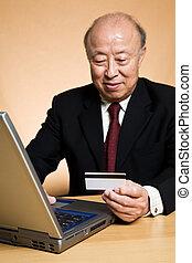 Businessman buying online
