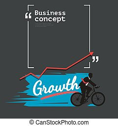 Businessman bycling with copyspace for growth concept