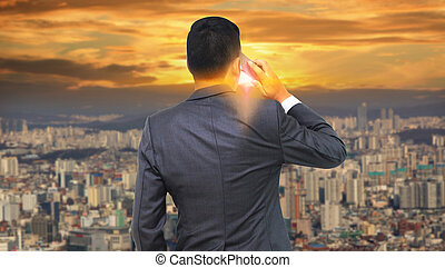 businessman calling by phone. business communication concept
