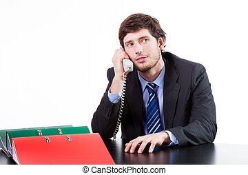 Businessman calling phone