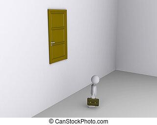 Businessman can not reach door to exit