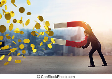 Businessman captures money with a big magnet. concept of earning success.