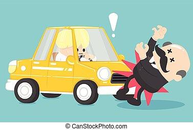 Businessman car accident vector