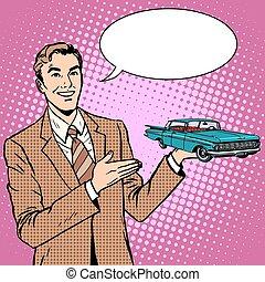 Businessman car salesman pop art retro style. Sale and...