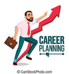 Businessman Career Planning Vector. Fast Success Concept. Mission. Huge Red Arrow. More Profit. Isolated Cartoon Illustration